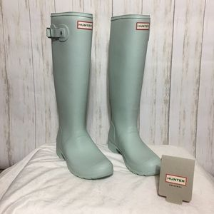 Mint green hunter boots